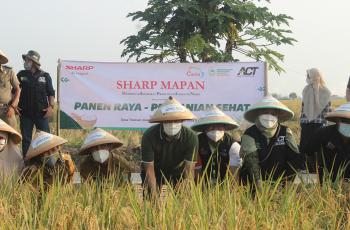 Panen Perdana Program CSR Sharp Mapan Hasilkan 49 Ton Gabah Beras